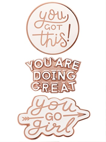 Motivational Enamel Pin Set | Alphabet Bags