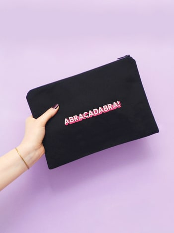 Abracadabra Embroidered Pouch | Makeup Bags Embroidered | Alphabet Bags
