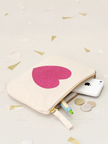 Glitter Heart Canvas Pouch | Little Canvas Purse | Alphabet Bags