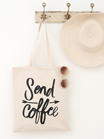 Send Coffee Tote Bag | Slogan Canvas Bags | Alphabet Bags