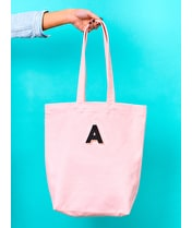 Initial Embroidered Pink Canvas Tote Bag