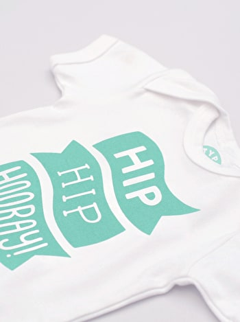 Hip Hip Hooray Bodysuit | Slogan Babygrows | Alphabet Bags