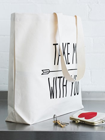 Take Me With You Big Canvas Bag | Canvas Shoulder Bag | Alphabet Bags