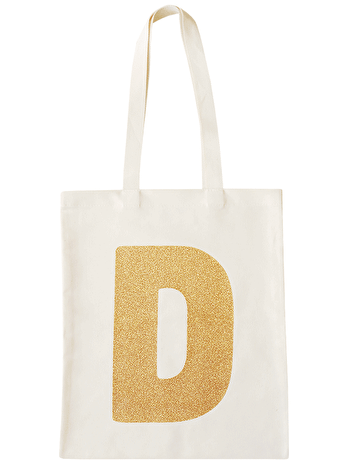 Photo of Initial Cotton Tote Bag - Gold Glitter