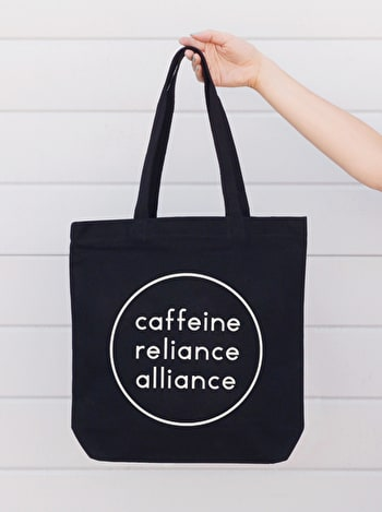 Caffeine Reliance Alliance | Black Canvas Bag | Alphabet Bag