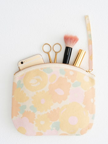 Floral Canvas Pouch | Floral Clutch Bag | Alphabet Bags
