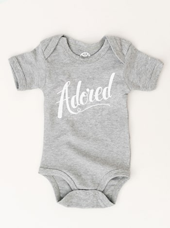 Adored Bodysuit | Slogan Babygrows | Alphabet Bags