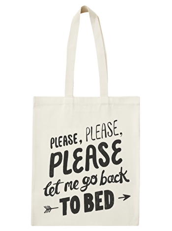 Back To Bed Tote Bag | Funny Tote Bags | Alphabet Bags