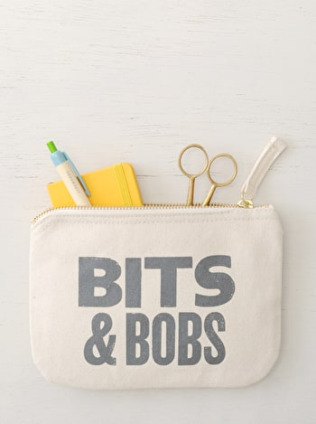 Bits & Bobs Canvas Pouch | Canvas Zip Purse | Alphabet Bags