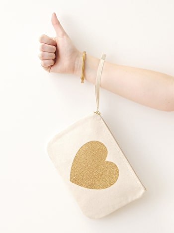 Heart Glitter Clutch | Gold Heart Canvas Pouch | Alphabet Bags