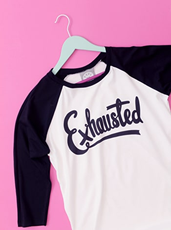 Exhausted Basball T Shirt | Printed Slogan T Shirt | Alphabet Bags