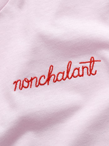 Nonchalant T Shirt | Embroidered Slogan T Shirt | Alphabet Bags