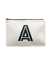 Initial Canvas Pouch - Large Natural
