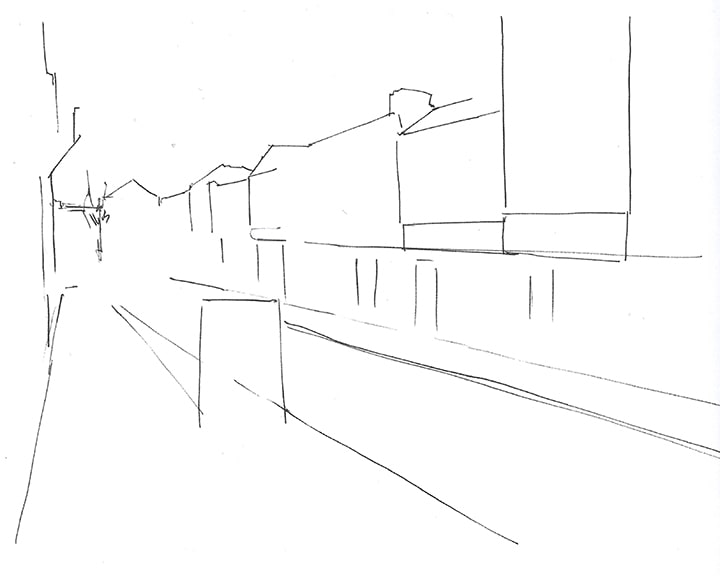 Urban sketch initial composition