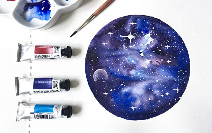 HOW TO: CREATE A GALAXY WATERCOLOUR PAINTING