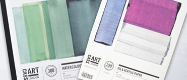 Painting pads such as watercolour paper, acrylic paper and canvas pads are available online and in store.