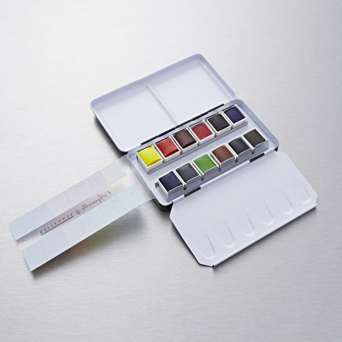 Sennelier Watercolour Metal Box Half Pan Pocket Set of 12 | Artist Watercolours | Cass Art