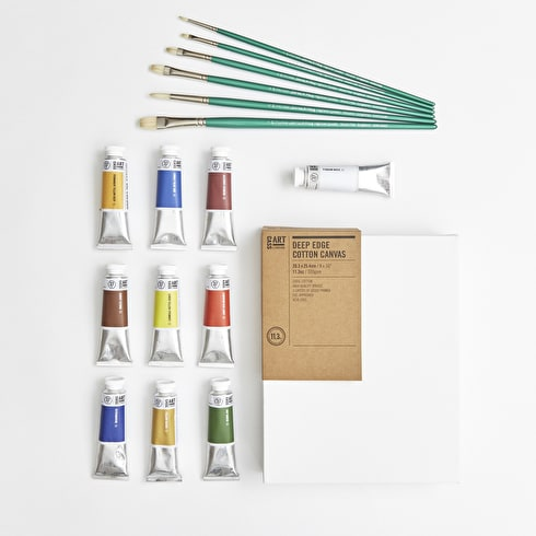 Professional Oil Painters Set with Paint, Brushes & Canvas   Cass Art