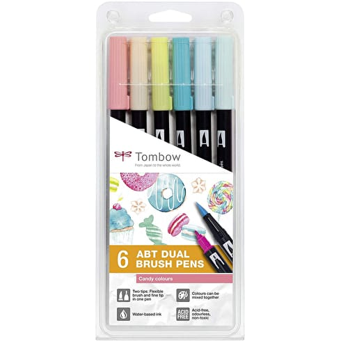 Tombow Dual Brush Pens Candy Colours Set of 6 | Cass Art