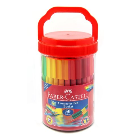 Faber-Castell Connector Pen Bucket Set of 50 Assorted Colours