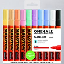 Molotow ONE4ALL Acrylic Pump Marker Pastel Set Round Nib 4mm Set of 10