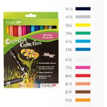 Tombow Dual Brush Pen Set of 12 Assorted Colours