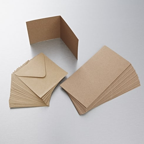 Papermania Recycled Kraft Card & Envelope A6 Pack of 50 | Cass Art