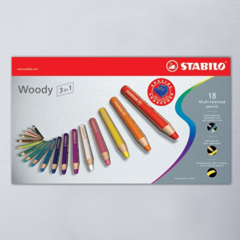 Stabilo Woody Sharpener & Paintbrush in Presentation Box Set of 18
