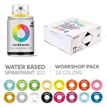 Mtn Water Based Spray Paint Workshop 100ml Set of 16