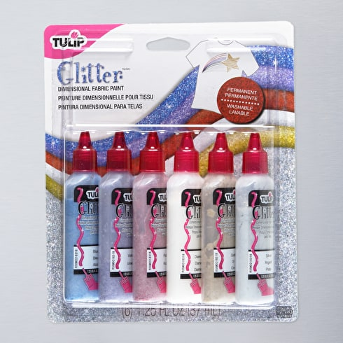 Tulip 3D Glitter 37ml Assorted Colours Set of 6 | Fabric Paint | Cass Art
