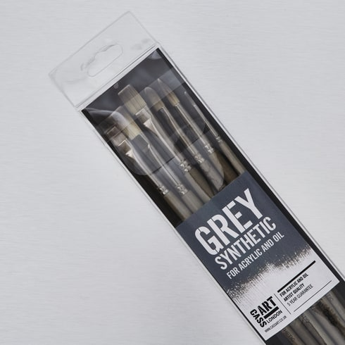 Cass Art Grey Synthetic Brushes Set of 6 | Oil and Acrylic Brushes