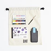 Watercolour Travel Gift Set with Paint, Paper, Brushes and Gift Bag