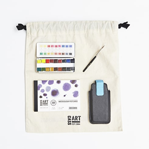 Watercolour Travel Gift Set with Paint, Paper, Brushes and Gift Bag   Cass Art