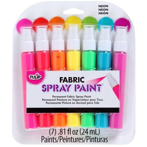 Tulip Fabric Spray Paint Neon 24ml Assorted Colours Pack of 7