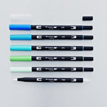 Tombow Dual Brush Pen Ocean Set of 6