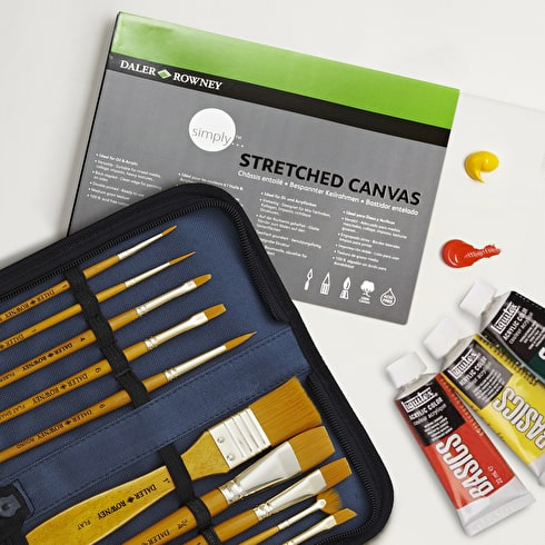 Starter Acrylic Set with Paint, Brushes & Canvas