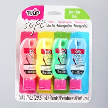 Tulip Soft Fabric Paint Neon 26ml Pack of 4