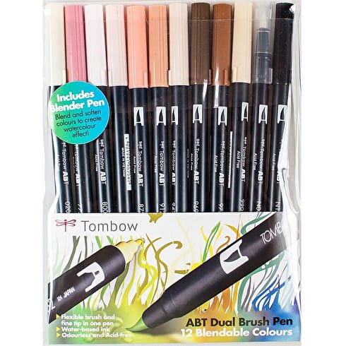 Tombow Dual Brush Pens Skin Tones Set of 12 | Cass Art