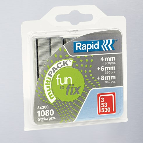 Rapid Fun to Fix Staples Size 53 Multiple Sizes 4, 6 & 8mm Pack of 1080