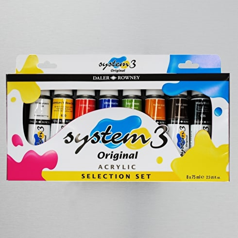 Daler Rowney System 3 Selection Set of 8 75ml | Acrylic Paint | Art Supplies | Cass Art