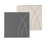 Creative Tops Pack Of 4 Stitched Faux Leather Coasters Reversible Greys