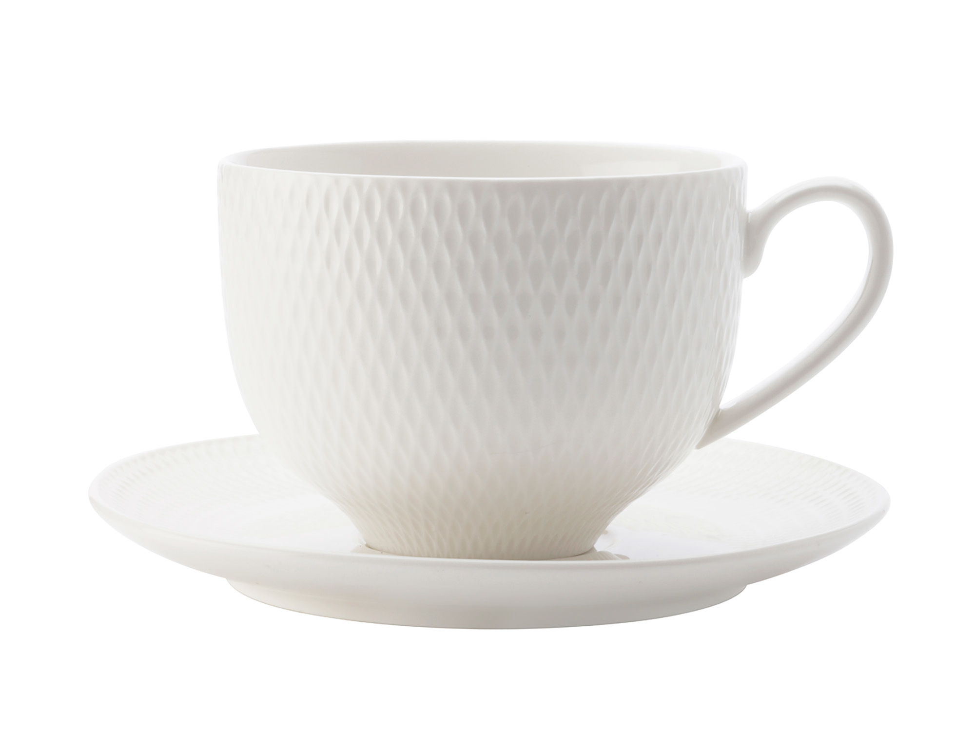 Maxwell & Williams White Basics Diamonds 220Ml Cup And Saucer