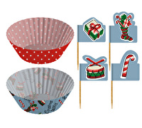 Katie Alice Yuletide Sleighride Cupcake Cases And Toppers