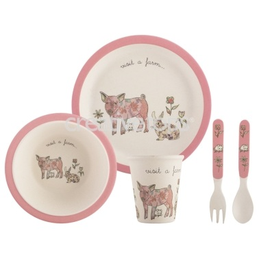 Creative Tops Visit A Farm Pig 5Pc Kids Pressed Bamboo Dinner Set
