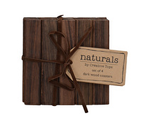 Creative Tops Naturals Pack Of 4 Square Dark Wood Coasters