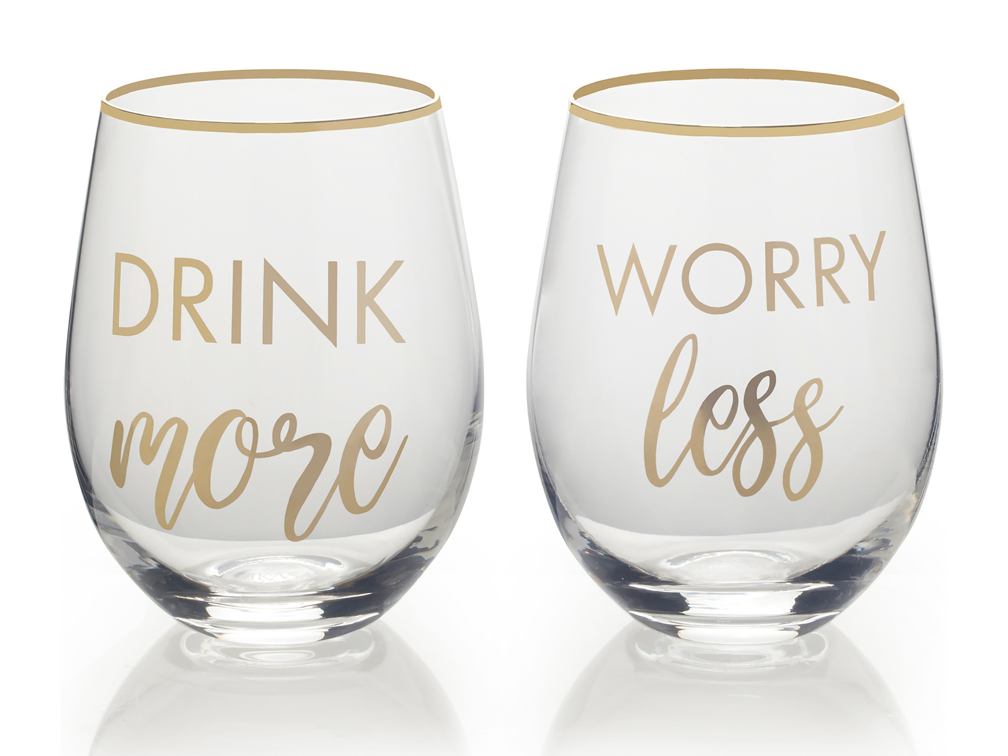 Mikasa Cheers Set Of 2 Stemless Drink More And Worry Less Wine Glasses