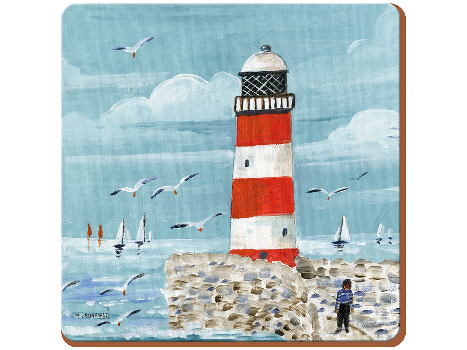 Everyday Home Lighthouse Coastal Pack Of 4 Coasters