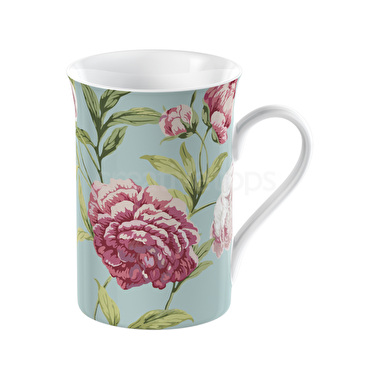 Everyday Home Floral Flared Rim Mug Duck Egg