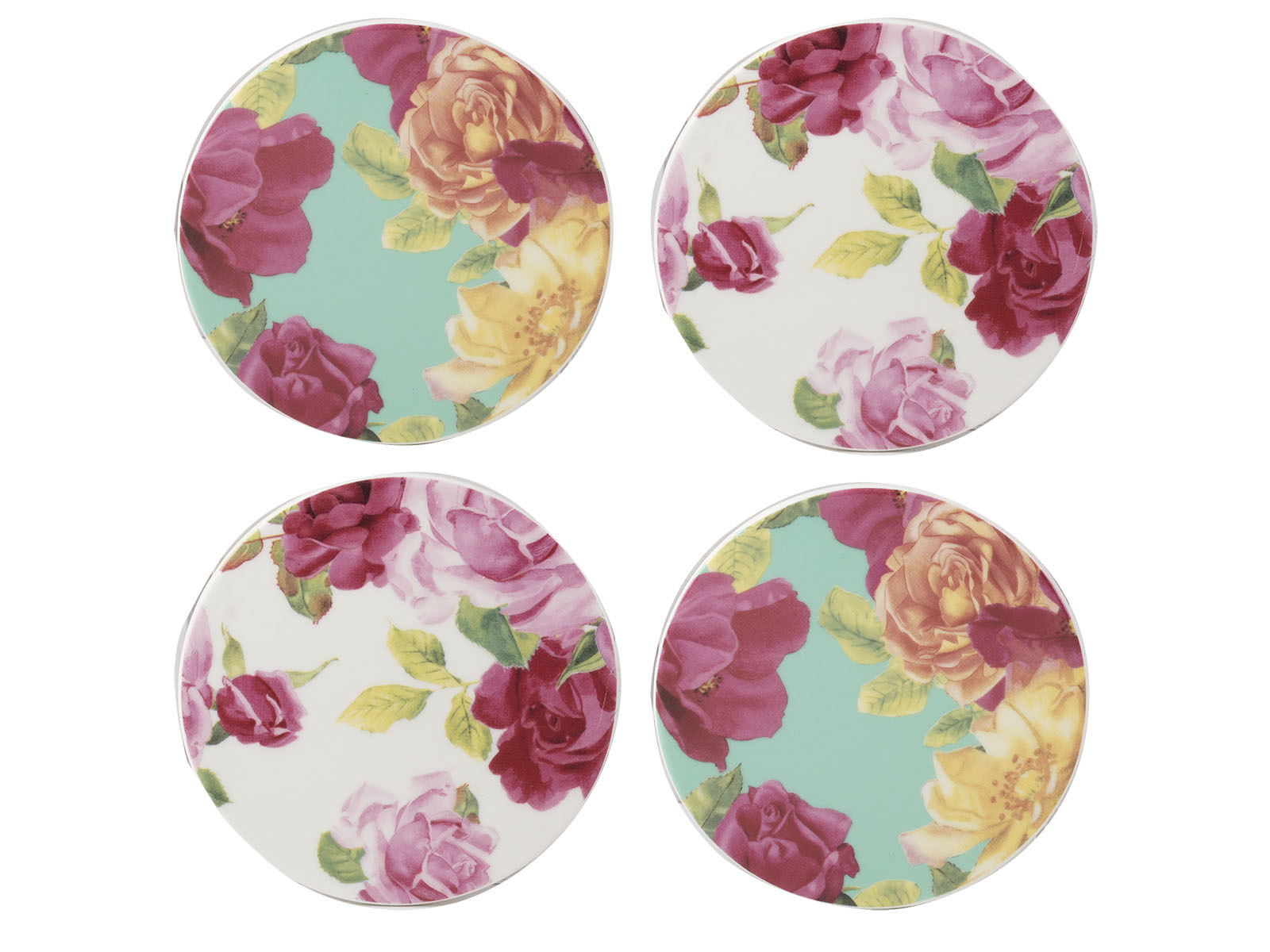 Kew Gardens Southbourne Rose Pack Of 4 Round Coasters