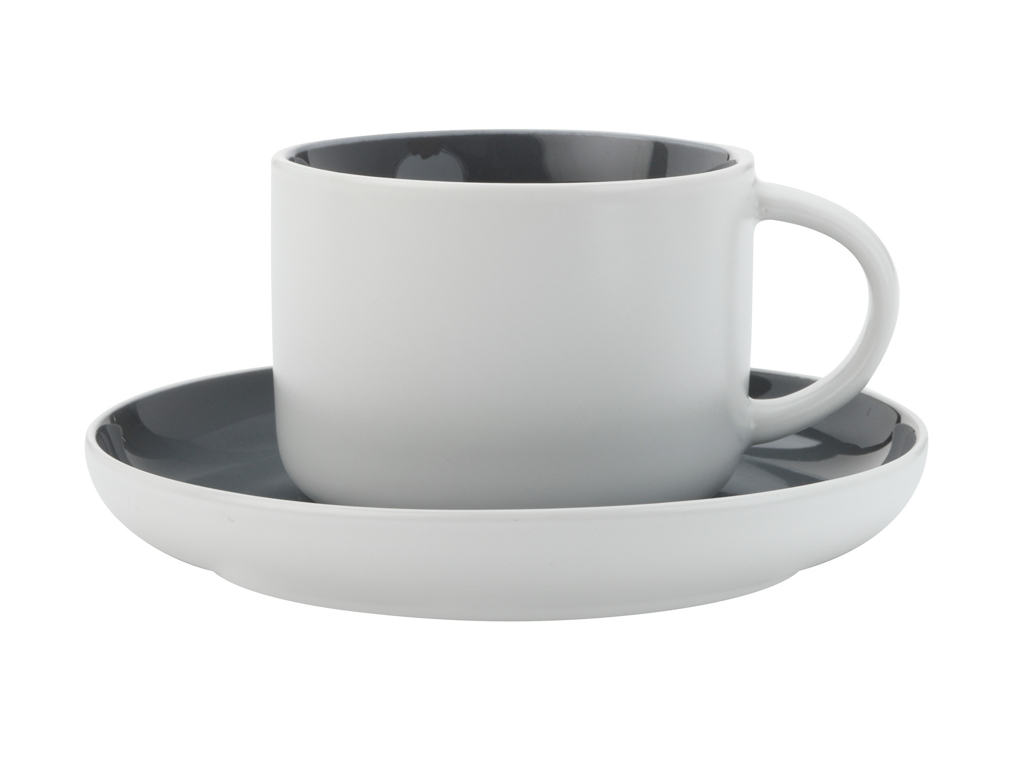 Maxwell & Williams Tint 250Ml Teacup And Saucer Charcoal